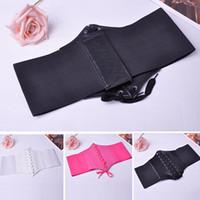 Wholesale Wide Leather Corset Belts Women - Wholesale- 2015 New Women's Slim Elastic Buckle Wide waistband Waist Belts Adjustable Corset Leather Lace up Wide Belt Retro Style SS0306*5