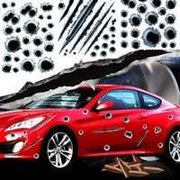Hot Car decals Fake Bullet Holes Funny Car Helmet Stickers Decals Car Styling 3D Bullet Hole Simulação Scratch Decal Waterproof Stickerbomb