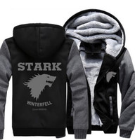 USA dimensione Game of Thrones Direwolf Ghost House of Stark Winter sta arrivando Giacca Felpe Addensare Hoodie Zipper Coat