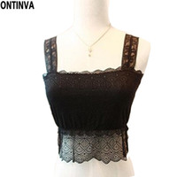 Wholesale Lace See Through Tank Top - Wholesale-Womens Lace Vest Tops Ladies See Through Blouses Crochet Tanks Sexy Camisole Bandage Top Black White Woman TShirt Strap Sarafan