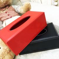 boîte à tissu achat en gros de-Rouge boîte de tissus Américain Style PU En Cuir Home Office Hôtel Voiture Facial Tissue Box Case Holder serviette papier titulaire