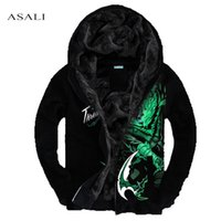 Wholesale Thick Warm Coats Men - Wholesale- Men Hoodies LOL 3D XXXL 4XL Brand-Clothing Tracksuits Velvet Fleece Warm Thick Sweatshirt Casual Hooded Jackets and Coats MS030