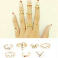 Wholesale Wholesale Mid Finger Rings - 7Pcs Set Charming Gold Women Rings Female Crystal Stack Plain Band Midi Mid Finger Knuckle Rings Set For Women Anel Jewelry