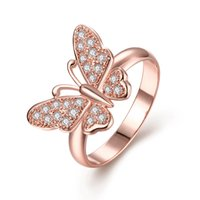 Wholesale Wholesale Ladies Butterfly Tops - 2017 Lovely Ladies Butterfly Ring for Women Rose Gold Plated Top Quality Cubic Zirconia Stone Jewelry Gifts R041