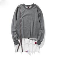 doppelschicht-sweatshirt großhandel-Herren Sweatshirts vorne lange Reißverschluss Dekoration O-Ausschnitt Baumwolle Hoodies zurück Band Doppelschicht rot / schwarz / grau Spleißen Sweatshirts