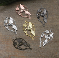 Wholesale Black Gun Metal Necklace - 07595 19*33mm antique bronze silver rose gold gun black filigree flower charms for jewelry making, diy metal bird bracelet necklace pendants
