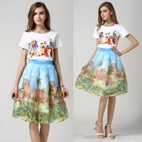 Wholesale 2017 Two Piece Dress cartoon pattern short tops and middle dress new fashion trend with