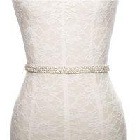 Wholesale Thin Crystal Wedding Sashes - Rhinestone pearls thin wedding accessories sash belt creamy for bride bridesmaid Vintage Beaded Crystal Belt Sash