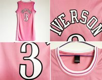 Wholesale Quick Shipping Dress - Women's Basketball Jersey dress #3 Allen Iverson Jersey pink color Jersey dress Embroider Logo Free Shipping