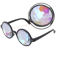 Wholesale Diamond Eyewear Wholesale - Wholesale- Creative Round Kaleidoscope Sunglasses Women Dazzle Eyewear Model Show Sun Glasses Men Artificial diamond Lens Steam Punk style