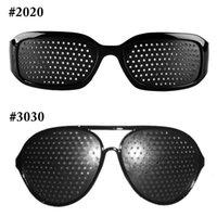 Wholesale Vision Eye Exercises - Black Unisex Vision Care Pin hole Eyeglasses Pinhole Glasses Eye Exercise Eyesight Improve Plastic DHL FREE SHIPPING 0612003