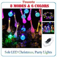 Wholesale New Solar LED water drop light string outdoor led christmas garden decoration lights waterproof m led bulbs fairy party Xmas decor