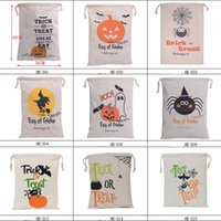 Wholesale Large Christmas Candy Decorations - Halloween Large Canvas bags cotton Drawstring Bag With Pumpkin Devil Spider Hallowmas Gifts Sack Bags Candy Canvas Bag Bunched Bag