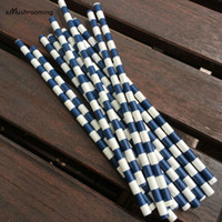Wholesale Navy Striped Straws - Wholesale-(25 pieces lot) Navy Blue Horizontal Striped Paper Straws Little Man Party Decor Navy Wedding Party Straws