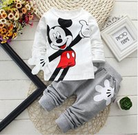 Wholesale Yellow Top Cartoon - 2017 Newborn Baby Boys Clothes Set Cartoon Long Sleeved Tops + Pants 2PCS Outfits Kids Bebes Clothing Childrens Jogging Suits