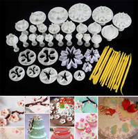 Wholesale Sugar Craft Flowers - 2017 new 10sets Flower Leaf Shapes 47pcs Sugar craft Plungers Cutters rolling pin Cake Decorating Tools cookies molds