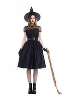 ingrosso gioco di costume sexy nero-Adult Women Gothic Witch Sexy Black Magic Fancy Dress Mysterious Lady Dress Up Gioco di ruolo Costume di Halloween Witch Cosplay PS025