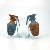 Wholesale Drop Shape Loose - Grenades Shape Silicone Loose Tea Leaf Strainer Filter Herbal Infuser Diffuser Drop Shipping