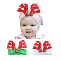 Wholesale Christmas Antlers Head Band - Christmas Baby Headband With Elk Antler For Toddler Girl Silk Head Ties Head Wraps Head Bands