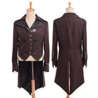 trajes de colas marrones al por mayor-1 unid Victorian Vintage Steampunk Aviador Cosplay Costume Collared Mens Brown Swallow-tailed Coat Outwear Nuevo Envío Rápido