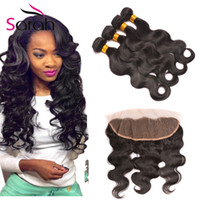Wholesale Brazilian Hair 3pc - Grade 8A Brazilian Virgin Human Hair Bundles 3Pc With Lace Closure Body Wave Hair Weaves With Human Lace Frontal Closure Bleached Knots 13X4