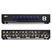 Wholesale Av Switches - 8 Ports Composite 3 RCA AV switch Video Audio AV Switcher Box Selector 8 In 1 Out 8 x 1 for HDTV LCD Projector DVD