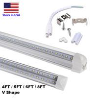 ingrosso illuminazione a congelatore principale-2ft 4ft 5ft 6ft 8ft LED Luce a forma di V Tubi LED integrati Doppio lato 4 File 8ft Luce più fredda Congelatore porta Illuminazione a LED