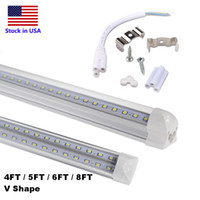 Wholesale 2835 Smd Led - 4ft 5ft 6ft 8ft LED Tube Light V Shape Integrated LED Tubes 4 5 6 8 ft Cooler Door Freezer LED Lighting