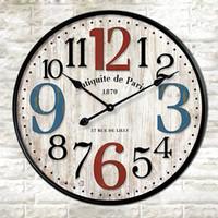 Wholesale Arabic Numbers Clock - Arabic Numbers Quartz Wall Clock Retro Wood Colorful Numbers Wall Decorative Clock Europe Styles Creative 3D Colorful Clocks