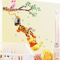 Wholesale Tree Wall Stickers For Kids - Pooh tree Animal Cartoon Vinyl Wall stickers for kids rooms Home decor DIY Child Wallpaper Art Decals 3D Design House Decoration