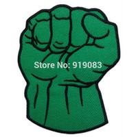 Wholesale Wholesalers Hulk Costumes - SUPERHERO HULK FIST GREEN HAND patch Comics tv movie Embroidered Emblem applique iron on patch halloween cosplay costume