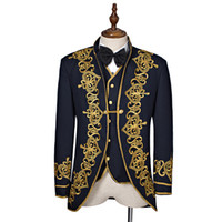 Wholesale Long Sleeve Vest For Men - High Quality Black Long Sleeves European Court Suits Gold Appliques Stage Performance Costumes For Men(Include Jacket+Vest+Tie)