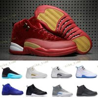 Wholesale Red Light Taxi - Basketball shoes air retro 12 XII man TAXI Playoff ovo white wolf Gray Black Gym red gamma GS barons cherry Flu Game sport sneaker boots