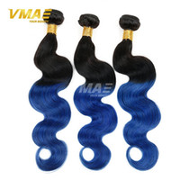 Wholesale remy braiding human hair 24 inches for sale - Group buy Two Tone B Blue Ombre virgin human Brazilian Hair Body Wave Black And Blue Ombre Weave Ombre Human Hair Extensions Braiding hair
