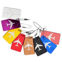 avião chaveiro venda por atacado-Avião Avião Bagagem ID Tags Embarque de Viagem Endereço ID Cartão Caso Saco Etiquetas Cartão Tag Do Cão Coleção Chaveiro Chave Anéis cores mix