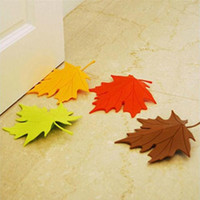 декор кленового листа оптовых-Wholesale- 2015 New Arrivel Hot Maple Autumn Leaf Style Home Decor Finger Safety Door Stop Stopper Doorstop