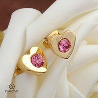 Wholesale Pink Ear Studs - I SHOW Pink crystal stud earring gold plated heart earrings female lovely ear jewelry genuine original heart-shaped earrings