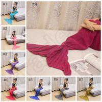 Wholesale Shark Baby Bag - Baby Crocheted Mermaid Tail Blankets Knit Mermaid Blankets Fish Sleeping Bags Siesta Shark Wrap Bedding Air Condition Sofa Blanket OOA1058