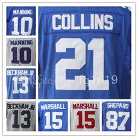 Wholesale Blue Marshall - Eli Manning Odell Beckham Jr men's Jersey Brandon Marshall Landon Collins Sterling Shepard 100% Stitched Embroidery Logos White Blue Jersey
