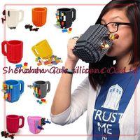 Wholesale Puzzle Blue - 30pcslot Build-On Brick Mug Lego Type Building Blocks Coffee Cup DIY Block Puzzle Mug