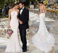 Wholesale Strapless Halter Beach Dress - 2017 New Elegant Full Lace Wedding Dresses Halter Strapless Sexy Open Back Mermaid Bridal Gowns Vintage Summer Beach Wedding Gowns