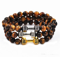 Wholesale Tiger Stone Accessories - New Tiger Eye Stone Beaded Fitness Life Lift Energy Power Dumbbell Stretch Bracelet Fashion Accessories free shipping