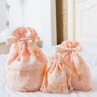 Wholesale Round Case Makeup Brush Set - Women's Lace Drawstring Cosmetic Storage Bag Set Makeup Case Pouch Travel Organizer Brushes Toiletry Accessories Supplies ZA3491