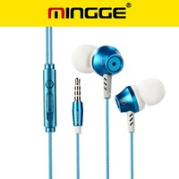 Wholesale Tablet Pc Wires - MINGGE 3.5mm Wired Earphone Noise Isolation In-ear Earphone Hifi Sound heavy bass Earphone Headset for phone MP3 MP4 PC tablet Free shipping