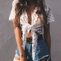 Wholesale Online Women Shirts - 2017 Hot Sale New Summer Women Hollow Lace Jacket Tank Leisure Short Sleeve T Shirt Cheap White Stock Wraps Online FS1975