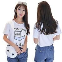 Wholesale Basic Japanese - Wholesale-Summer Fashion Women Japanese Harajuku Cute Soft Milk Box Print Loose Short Sleeve T-Shirts Lady Girls Basic Tee T Shirts Tops