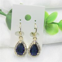 Wholesale Wholesale Heart Shaped Sapphire - Fashion sapphire teardrop-shaped gold earrings gift box and free shipping for free for women
