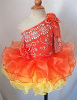 ingrosso vestiti arancioni da ragazza di fiori del bambino-2019 Orange One Sleeve Beautiful Flower Flower Girl Dresses Girls Pageant Abiti Mini Short Cupcake Infantile Toddler Dresses