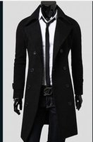 Plus Größe Doppelte Breasted Erbsenmantel Kaufen -Plus Size Männer Trenchcoat Winter Herren Lange Pea Mantel Herren Wolle Drehen Kragen Double Breasted Männer Trenchcoat