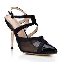Wholesale Lady Shoes Images - 2017 Black Women Dress Shoes Pumps Real Image Ladies Party Shoes Metal Heels Buckle Strap Pointed Toe Sexy Party Shoes Hot Sale